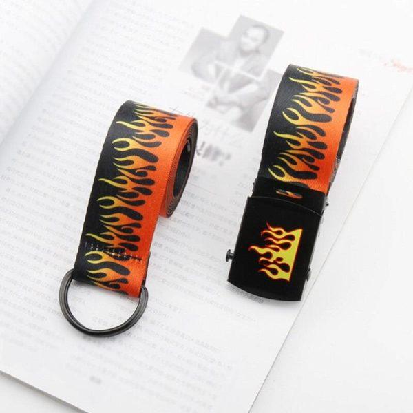 Punk Women Men Flame Printed Canvas Belts Harajuku Hip Hop Double D Ring Smooth Buckle Waist Strap Jeans Trouser Student Belt