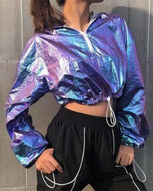Rainbowwaves Women Jazz Dance Street Dance Top Rave Outfit Holographic Jacket Short Hooded Neon Outfit Dance Crop Top