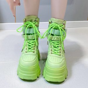 Rimocy Green Punk Chunky Platform Motorcycle Boots Women Autumn Winter Gothic Shoes Woman Thick Bottom Lace Up Ankle Botas Mujer