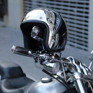 Silver Mirror Techwear Moto Helmet