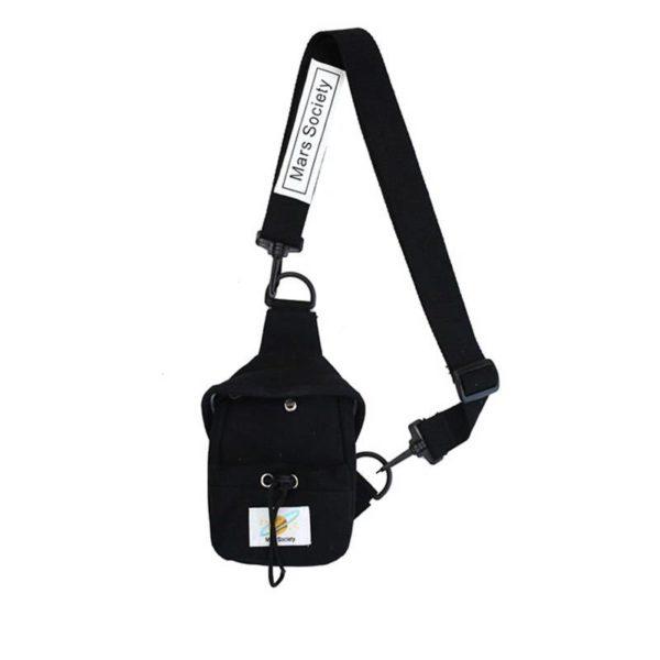 Small Canvas Chest Pack for Men Women Crossbody Bags Hip Hop Streetwear Bag Fanny Pack Multifunction Mini Belt Waist Chest Bag