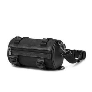 Solid Black Cylinder Shaped Techwear Messenger Bag