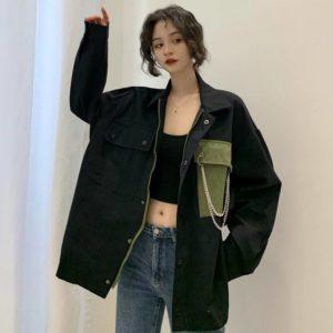 Spring and Autumn 2020 New Korean BF Harajuku Hong Kong Style Loose Retro Ins Tooling Shirt Jacket Female Students Cool