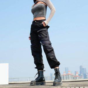 Women's Solid Black High Waist Techwear Cargo Pants