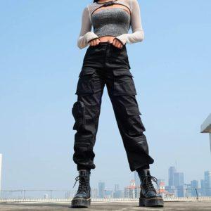 Sweetown Black Cargo Pants Women Fashion 2020 Pockets Patchwork Hippie Trousers Fake Zipper Woven High Waist Streetwear Pants