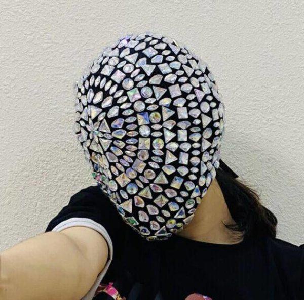 Thorn Diamond Rivet Punk Full Face Mask For Face Night Club Dance Cosplay Halloween Masks Fashion Rhinestone Mask Hood Helmet
