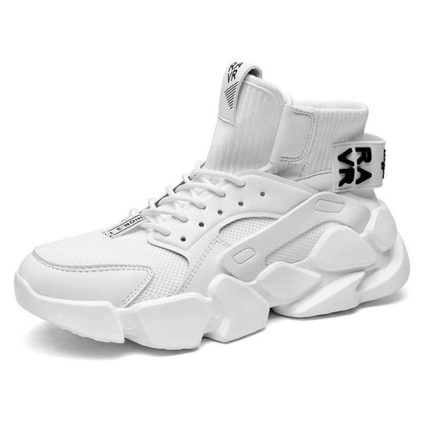 Trend Men's Sneakers High-top Comfortable Running Gym Sneaker Autumn 2021 New Breathable White Sneakers Damping Tennis Shoes