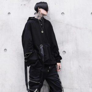 Unique Men's Black Hooded Sweatshirts Oversized Ribbon Fashion Hoodies Male Hip hop Streetwear Baggy Techwear Pullover Tops Man
