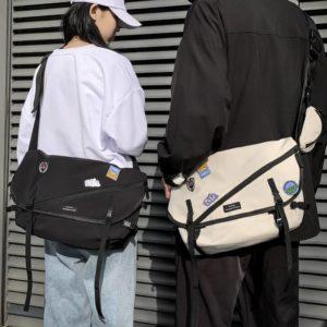 Unisex Large Capacity Students Single Shoulder Bag Nylon Waterproof Messenger Bag Teenagers Campus Bookbag Casual Solid New
