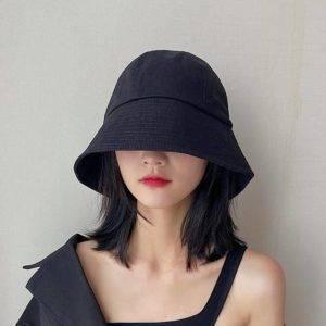 Unisex Solid Color Cotton Techwear Bucket Hat