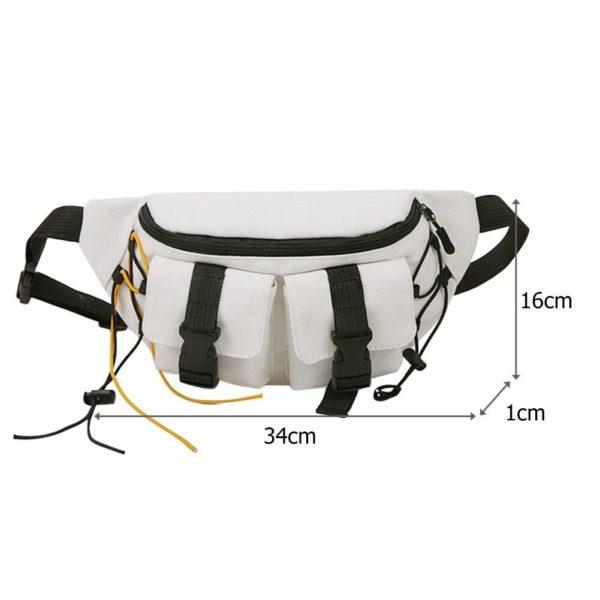 Unisex Street Casual Chest Bag Canvas Women Men Zipper Fanny Bum Belt Pouch Daily Travel Crossbody Shoulder Pack