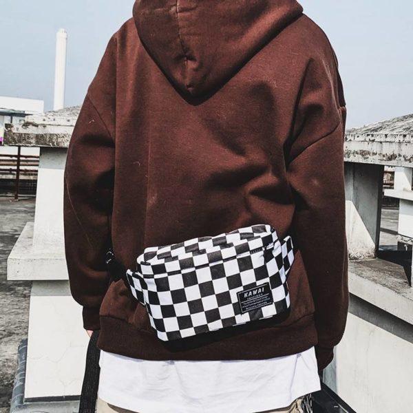 Waterproof Nylon Checked Print Techwear Waist Bag