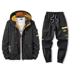 Winter Mens 2 Piece Outfits Men Sportwear Jacket Pants Sets Plus Size Clothes Mens Track Jackets Hip Hop Tracksuit Streetwear