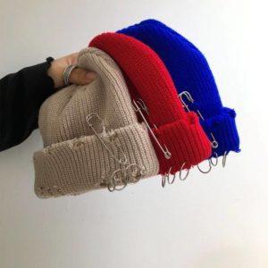 Winter Punk Harajuku Hole Skullies Women Warm Fashion Knitted Hat Autumn Hip hop Beanies Unisex Basic Cap PJ388