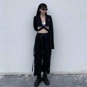 With Belt Reflective Oversize Cargo Pants Women Joggers Women Gothic Black Streetwear Trousers Korean Style Harajuku High Waist