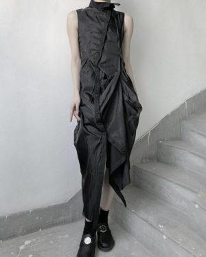 Women's Asymmetric Draped Techwear Maxi Dress