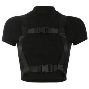Black Harness Techwear Crop Top