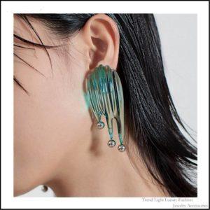 Women's Futuristic Style Green Fluid Earrings