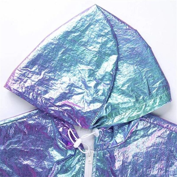 Women's Holographic Hooded Cyber Punk Crop Top