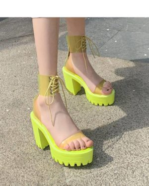 Women's Neon Color Transparent Strap Chunky Techwear Sandals