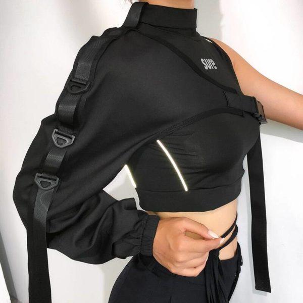Women's Neon Green One Shoulder Techwear Crop Top
