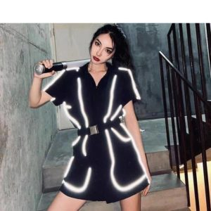 Women's Reflective Lines Techwear Mini Overall