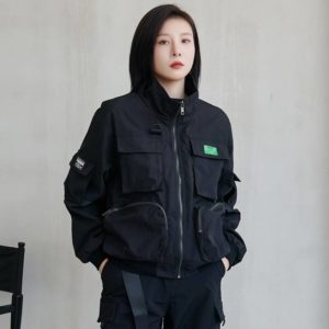 Y Demo Techwear Loose Stand Collar Long Sleeve Zipper Jacket Women Loose Baseball Outerwear Fashion