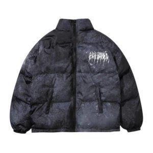 Men's Graffiti Print Oversized Techwear Puffer Jacket